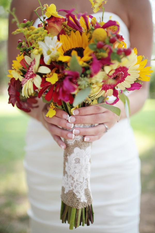 Southern Weddings Southern Wedding Ideas Wildflower Bouquet Sunflower