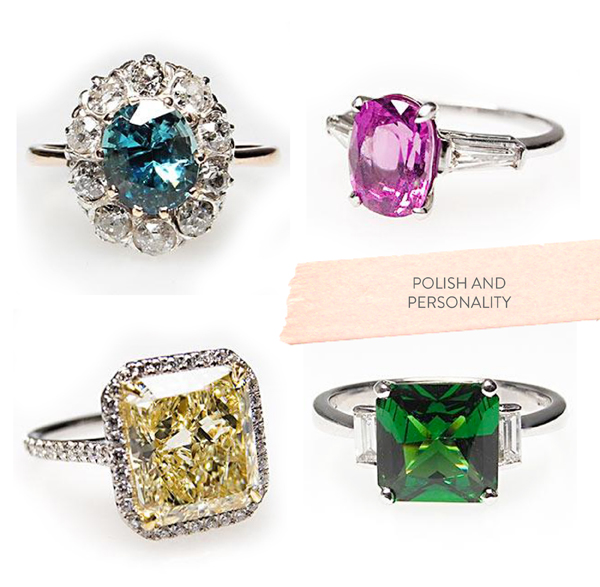 Colored gem wedding rings