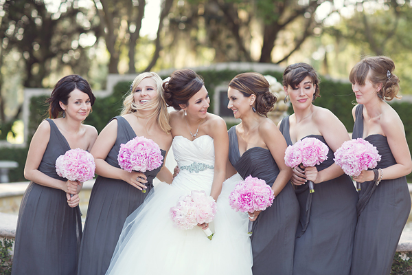 Gray And Hot Pink Bridesmaid Dresses - Wedding Short Dresses
