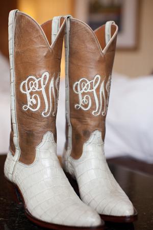 white wedding cowboy boots bride