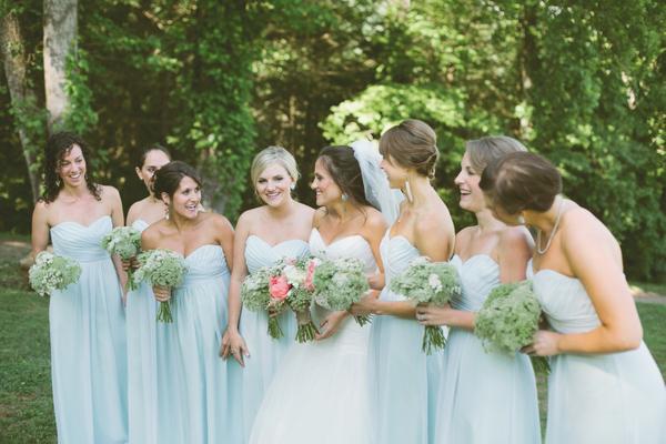 Pale Blue Bridesmaids Dresses : Facebook it