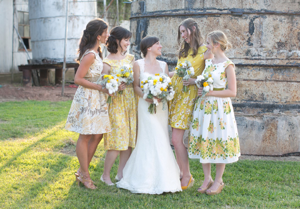 Yellow Patterned Bridesmaid Dresses 68
