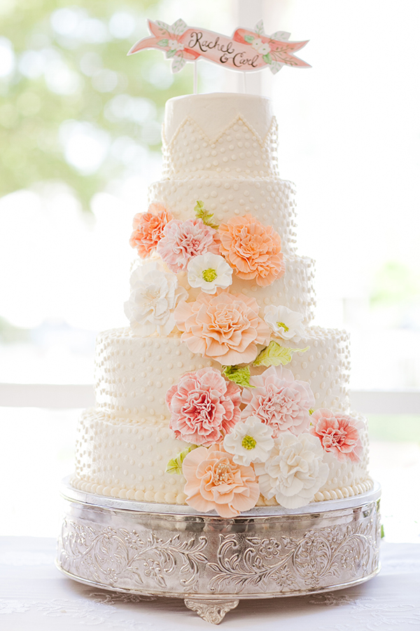 Peach And Pink Sugar Flower Cake With Banner Topper