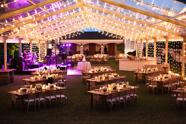 Clear top tent with string lights sophie brian honey for Wedding tent layout