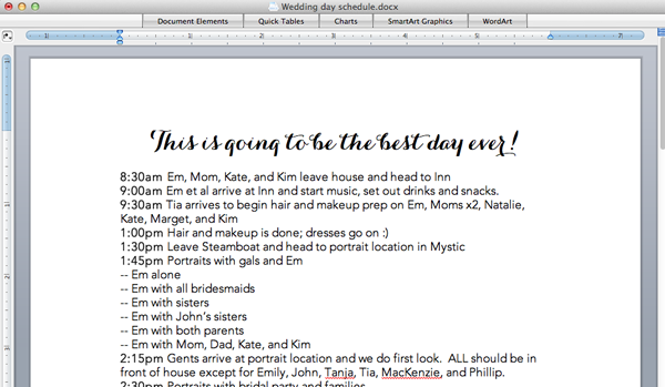 Sample Wedding Weekend Itinerary Template to Celebrate Throughout Weekend