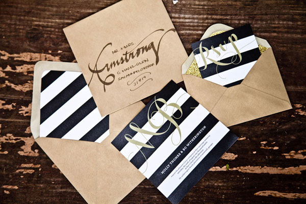 Striped Wedding Invitations: Facebook It